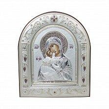 Православная икона Владимирская Божья на основе под дерево, гальванопластика, 16,7х22,4см