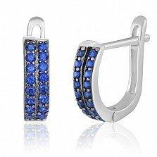 Серебряные серьги с синим цирконием Чезара