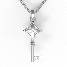 Серебряное колье Чувственнось с подвеской-ключом в стиле Луи Виттон