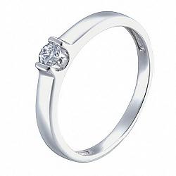 Золотое помолвочное кольцо Единственная в белом цвете с фианитом