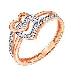 Золотое кольцо в комбинированном цвете с фианитами 000127985