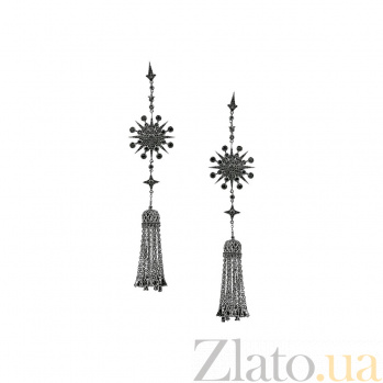 Серебряные серьги-подвески Принцесса Будур с черными фианитами 000081902