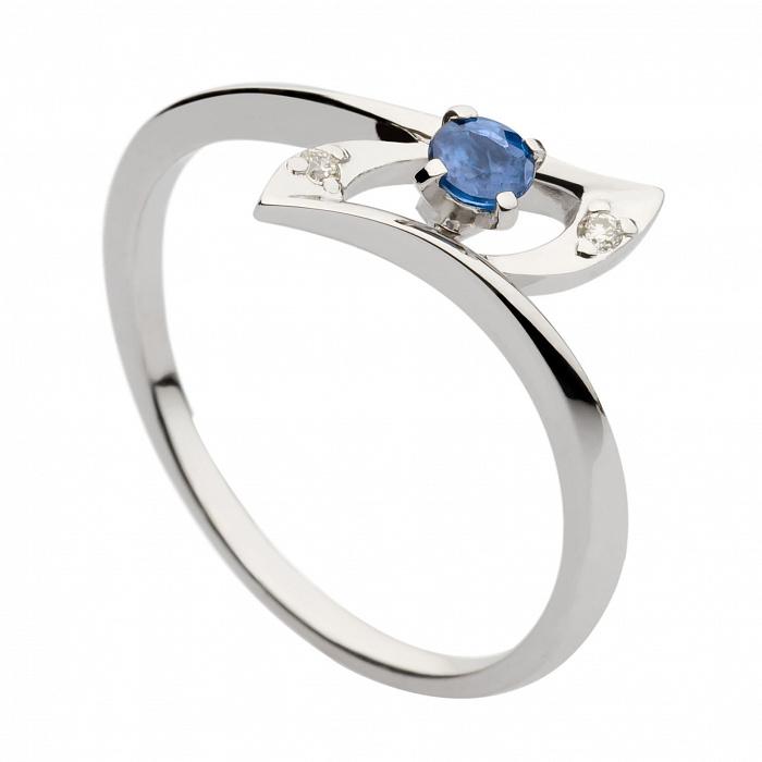 Кольцо из белого золота с сапфиром и бриллиантами Данио 000030365