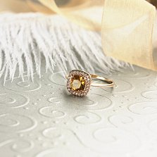 Кольцо из красного золота Мирабель с синтезированным султанитом и фианитами