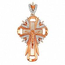 Крест Благословение в красном золоте с фианитами