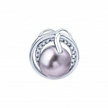 Подвеска из серебра с жемчугом и фианитами Мелина