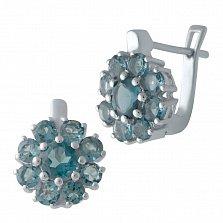 Серебряные серьги с лондон топазами 000128396