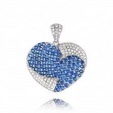 Золотой кулон-сердце Орион в белом цвете с сапфирами и бриллиантами