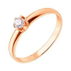 Кольцо в красном золоте с бриллиантом 0,25ct 000070540