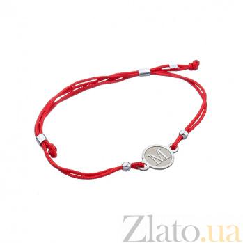 Шелковый браслет со вставкой Буква М Буква М