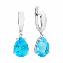 Серебряные серьги-подвески Камелот с голубым кварцем