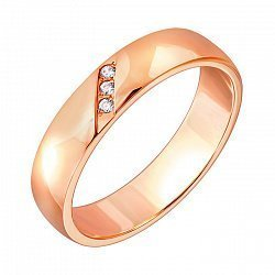 Обручальное кольцо из красного золота с фианитами 000010275