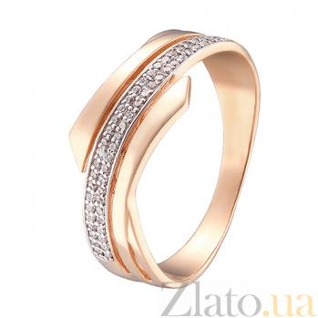 Кольцо в красном золоте Нежный изгиб с фианитами 000023464