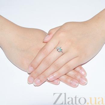 Серебряное кольцо Илона с изумрудом и фианитами 1841/9 изум