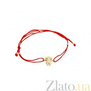 Браслет из красного золота и красной нити Девочка 000081299