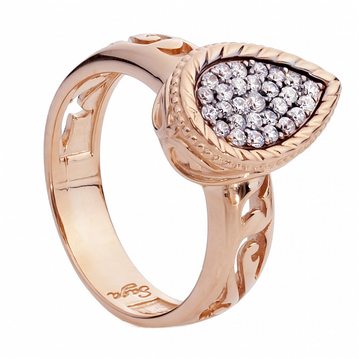 Золотое кольцо с цирконием Кэмуель 000030042