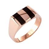 Золотое кольцо-печатка с эмалью Керим