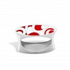 Серебряное кольцо Native с красной и белой эмалью