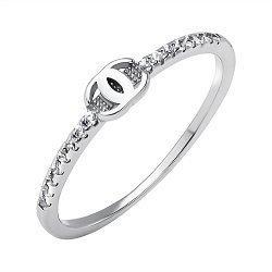 Серебряное кольцо в стиле Шанель с фианитами 000118396