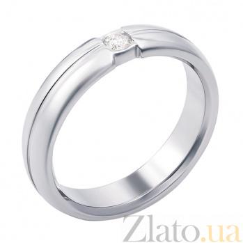 Золотое обручальноекольцо Признание в белом цвете с бриллиантом 000129895