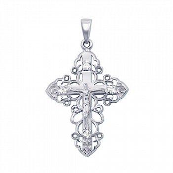 Золотой крестик в белом цвете с бриллиантами 000124467