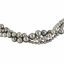 Тройное ожерелье Далила из серого жемчуга с серебряной застежкой