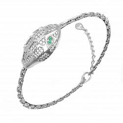 Браслет с цепочкой Роскошная змея с зелеными и белыми фианитами