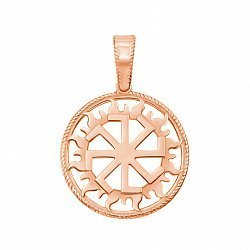 Золотой кулон Колядник в солнечном круге в красном цвете 000123848