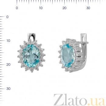 Серебряные серьги Пелагея с топазом и фианитами 000081856