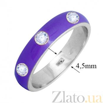 Золотое кольцо Пастель с фианитами и эмалью цвета лаванды К221бел/лав