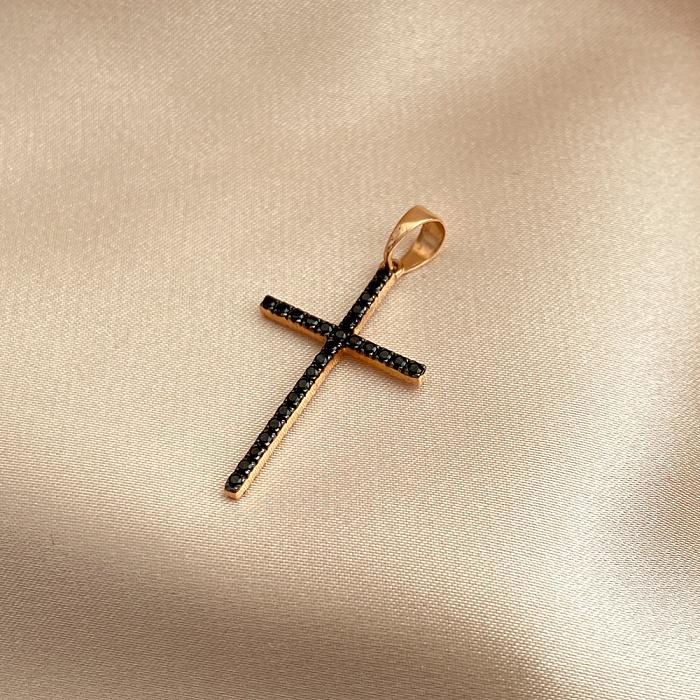 Крестик из красного золота с цирконием Swarovski двусторонний 000142387 000142387