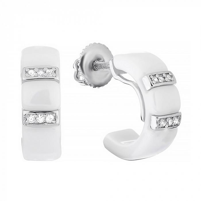 Керамические серьги с серебром и фианитами Vogue 000031080 SLX--С2ФК1/1002