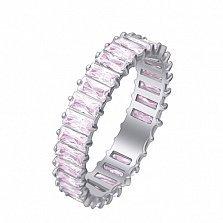 Серебряное кольцо Агата с розовыми фианитами