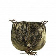 Кожаная сумка на каждый день Genuine Leather 1677 зеленого цвета с клапаном и регулируемым ремнем