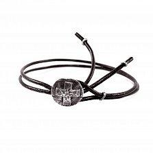 Кожаный браслет с серебром Joss Black с чернением