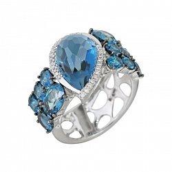 Кольцо из белого золота Морская вселенная с топазами и бриллиантами