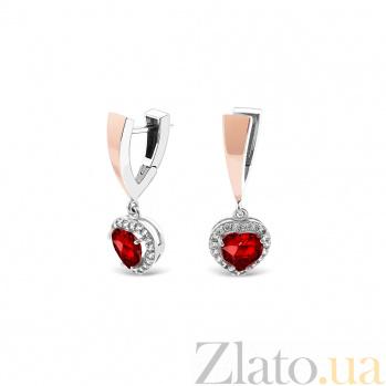Серебряные серьги-подвески Лада с золотыми накладками, красным и белым цирконием 000079124