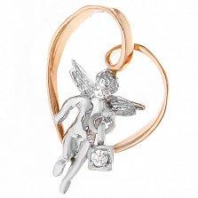 Золотой подвес Ангел на сердце с бриллиантом