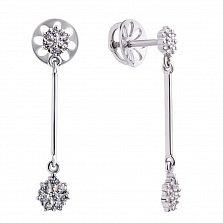 Золотые серьги-подвески Риамина в белом цвете с бриллиантами