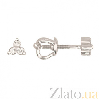 Серьги-винты из белого золота Трилистник VLT--Н-2340-1