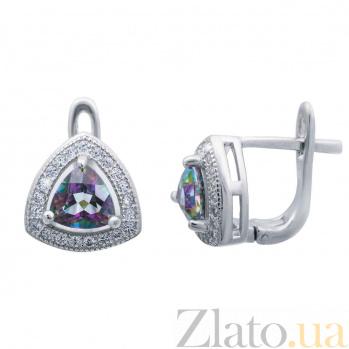 Серебряные серьги с мистик топазом Таинственность AQA--E00825MT