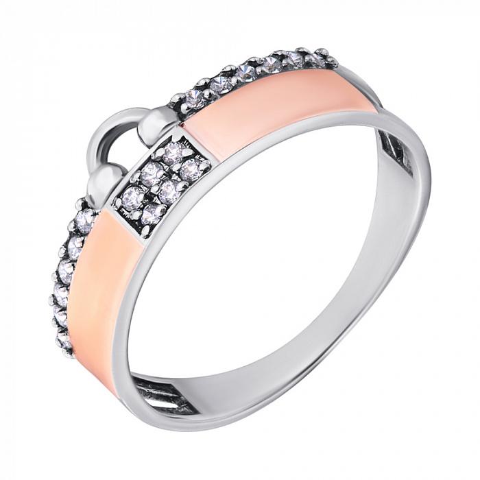 Серебряное кольцо Замочек с золотыми накладками и фианитами 000080047