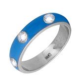 Золотое кольцо Пастель с фианитами и эмалью цвета синее небо