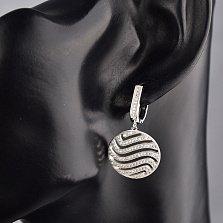 Серебряные серьги-подвески Плавные волны с белыми фианитами