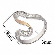 Серебряное кольцо с фианитами и золотой вставкой Розанна