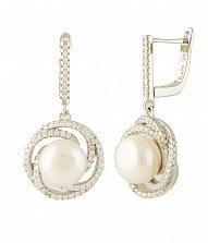 Серебряные серьги-подвески Исидора с жемчугом и фианитами