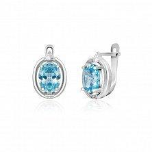 Серьги из серебра с голубыми фианитами Пруденс