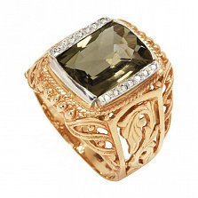 Золотое кольцо Виват Король в красном цвете с узорной шинкой, раухтопазом и фианитами