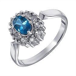 Серебряное кольцо с лондон топазом и цирконием 000136930