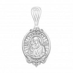 Серебряная ладанка Божья Матерь с младенцем и молитвой на тыльной стороне 000126892